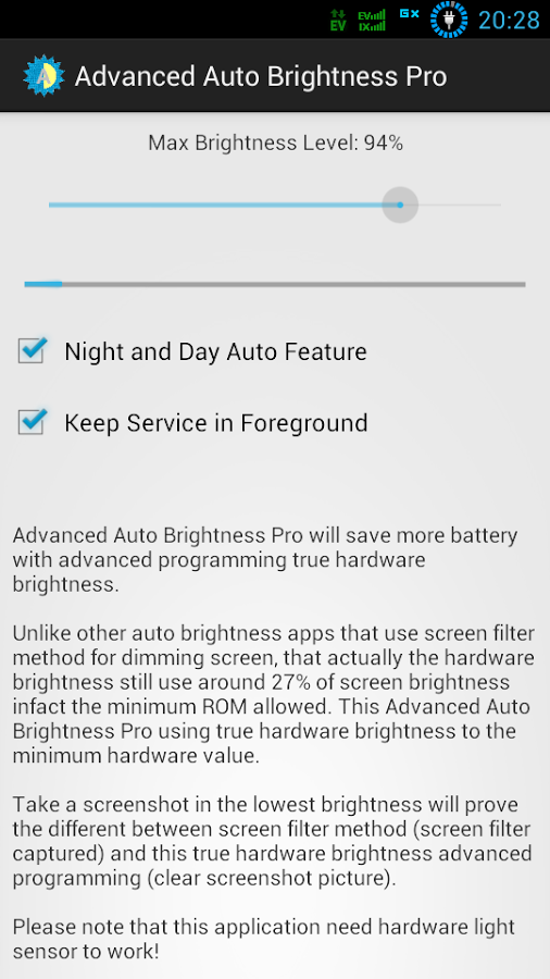 ADVANCED AUTO BRIGHTNESS PRO Screenshot 1