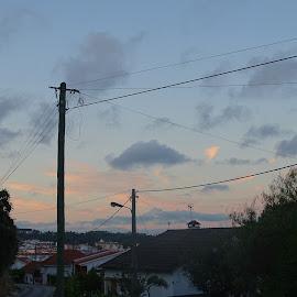 Hometown by Ana Neves - City,  Street & Park  Neighborhoods ( houses, hometown, blue, sunset, street )