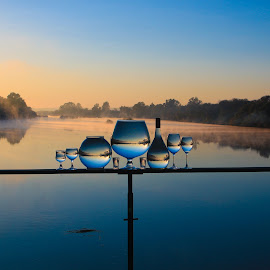 Peaceful  by Stefan Klein - Artistic Objects Still Life ( glasses, sunrise, still life, river, water,  )