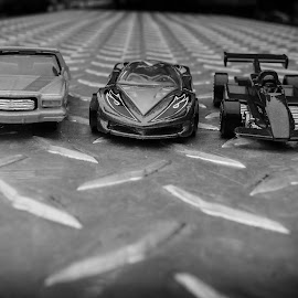 Hot Wheels 3 B&W by Gary Wahle - Artistic Objects Toys ( die-cast, mattel, toy cars, hot wheels,  )