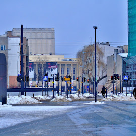 ON THE STREET by Wojtylak Maria - City,  Street & Park  Street Scenes ( crossing, winter, street, town, opera house, people )