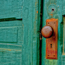 The Green Door by Barbara Brock - Buildings & Architecture Other Exteriors ( green, old green door, door and keyhole, green door, rusty keyhole )