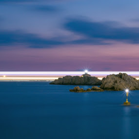 Reefs and the ship by Miho Kulušić - Transportation Boats ( dawn, reef, sunset, ship, light trails, long exposure,  )