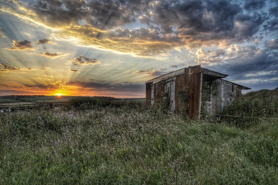East fleet barn, Dorset uk by Noel Wittin - Landscapes Sunsets & Sunrises ( clouds, sky, sunset, alone, fields )