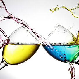 Colourful water splash on two glasses by Peter Salmon - Artistic Objects Glass ( colour, water, splash, glasses, glass )