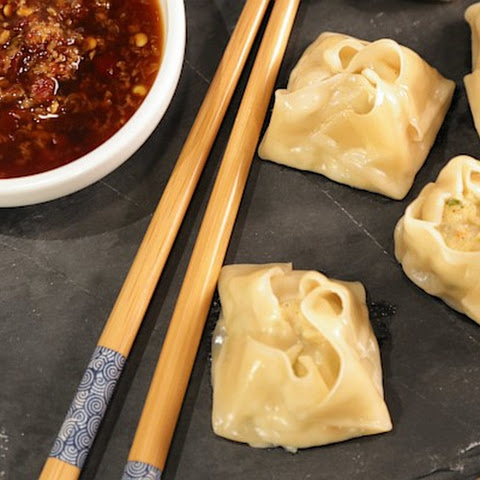 Chicken and Shrimp Dumplings with Spicy Ginger Dipping Sauce