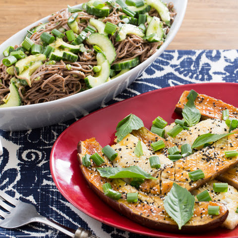 Seared Cod & Miso-Roasted Japanese Eggplant with Cucumber-Soba Noodle Salad