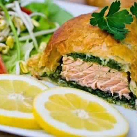 Salmon Baked In Puff Pastry With Herbs