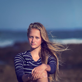 Natural Beauty  by Phillip Prinsloo - People Fashion ( sand, natural light, model, blue, waves, sea, beach, light, natural, rocks )