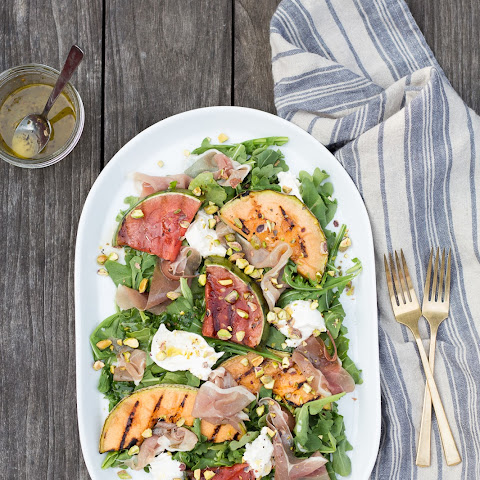 Grilled Melon Salad with Prosciutto and Burrata