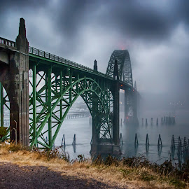 Smoke on the Water by Richard Michael Lingo - Buildings & Architecture Bridges & Suspended Structures ( oregon, buildings, yaquina bay bridge, newport, bridges, smoke )