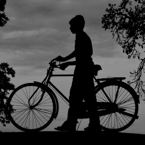 by Muthu Kumar - Transportation Bicycles ( cycle, b&w, boy )