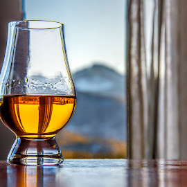 Whiskey With a View by Kimberly Sheppard - Food & Drink Alcohol & Drinks ( mountain, whiskey, still life, alcohol, glass )