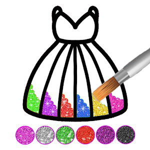 Glitter dress coloring and drawing book for Kids Online PC (Windows / MAC)