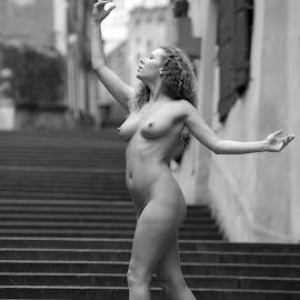 Stairway by Tomas Fensterseifer - Nudes & Boudoir Artistic Nude ( nude in public, draco nobilis, prague, city )