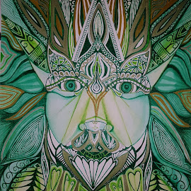 Mandala Green Man by Lyndsay Hepburn - Drawing All Drawing ( greenman, pagangreenman )