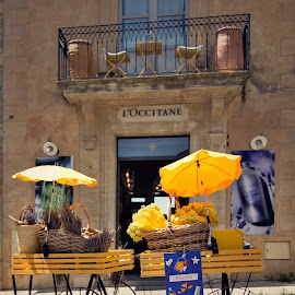 Gordes - L;Occitane by Jiri Cetkovsky - City,  Street & Park  Markets & Shops ( provence, france, yellow, seclusion, gordes )