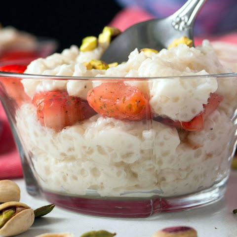 Vegan Tapioca Pudding with Rose Water + Marinated Strawberries