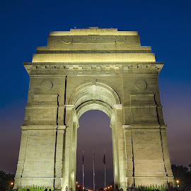 India Gate by Ankit Chauhan - City,  Street & Park  City Parks ( #india_gate #delhi #india #blue #hour #long_exposure #photowalk #crazyrover #aankitchauhan #standing #tall #bravery #war )