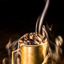 hot coffe beans by Dumitru Doru - Food & Drink Ingredients ( aroma, fresh, food, beans, drink, coffee, hot, restaurant, coffee shop )