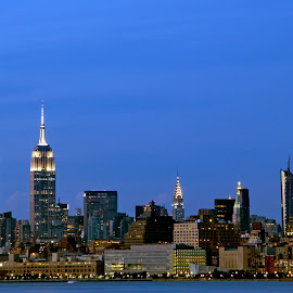 by Judy Florio - City,  Street & Park  Skylines ( lights, water, skyline, bay, night, manhattan, cityscape, new york )