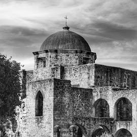 Mission San Jose by Cathy Hood - Black & White Buildings & Architecture
