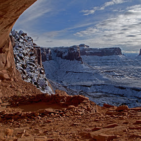 Winter False Kiva by Logan Knowles - Landscapes Caves & Formations ( contrast, winter, arches national park, cliff, native american )