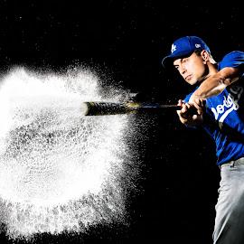 Water Bomb by Shane McKenzie - Sports & Fitness Baseball ( water, splash, baseball, freeze, male, action, sport, bat )