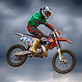 In The Air ! by Marco Bertamé - Sports & Fitness Motorsports ( clouds, flying, red, motocross, speed, 57, green, air, number, race, noise, jump,  )
