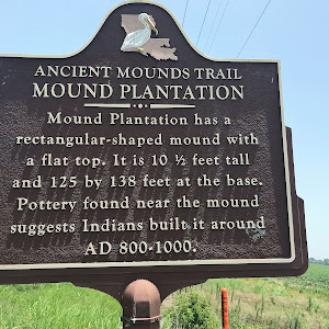 Mound Plantation has a rectangular-shaped mound with a flat top. It is 10½ feet tall and 125 by 138 feet at the base. Pottery found near the mound suggests Indians built it around AD 800-1000.