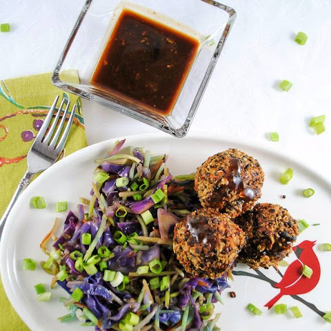 "Quinoa and Black Bean ""Meatballs"" with Hoisin Ginger Sauce and Broccoli Cabbage Slaw"
