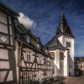Obergasse by Ole Steffensen - City,  Street & Park  Street Scenes ( idstein, cobblestones, church, street, half-timbered, germany, obergasse, restaurant )
