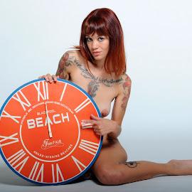 Lucerne Says Late by DJ Cockburn - Nudes & Boudoir Artistic Nude ( studio, model, art nude, nude, auburn, clock, circle, kneeling, midday, woman, redhead, pointing, lucerne, tattoo )