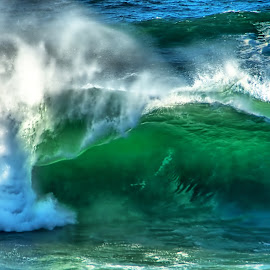 See-through wave by Gaylord Mink - Nature Up Close Water ( green, wave, breaker, ocean )