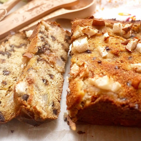 Paleo Caramelized Pear and Chocolate Chip Loaf Cake ( GF)