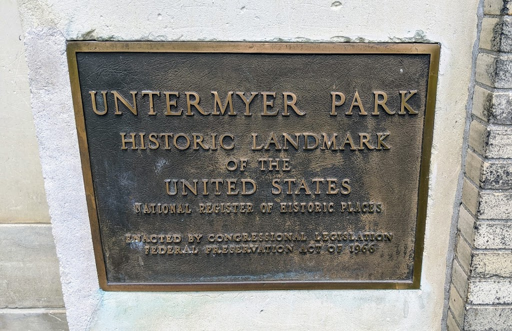 UNTERMYER PARK HISTORIC LANDMARK OF THE UNITED STATES NATIONAL REGISTER OF HISTORIC PLACES ENACTED BY CONGRESSIONAL LEGISLATION FEDERAL PRESERVATION LOT OF 1966Submitted by @lampbane