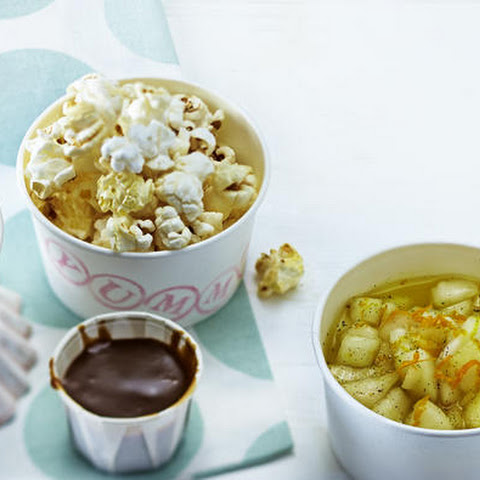 Caramel Ice Cream with Caramel Sauce, Vanilla Pears and Caramel Corn