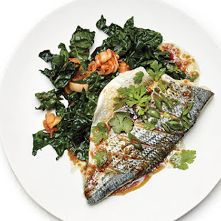 Scallion Fish with Sesame Kale
