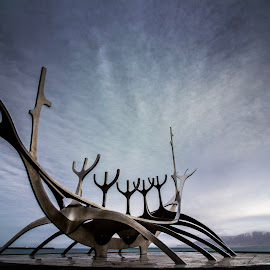 The Sun Voyager - Iceland by Chris James - Artistic Objects Other Objects ( #reykjavik, #monument, #iceland, #bay, #sea, #sculpture, #sunvoyager )