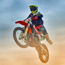 Flying With The Bike ! by Marco Bertamé - Sports & Fitness Motorsports ( clouds, speed, number, yellow, race, noise, jump, flying, red, motocross, dust, 53, air, high )