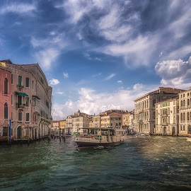 Gran Canal by Ole Steffensen - City,  Street & Park  Vistas ( venezia, gran canal, italia, venice, boat, vaporetto, italy )