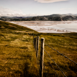 On the fence by Tommy  Cochrane - Landscapes Mountains & Hills ( hills, fence, bay, grass, sea )