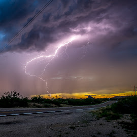 Sunset Strike by Ed Mullins - Landscapes Weather ( lightning )