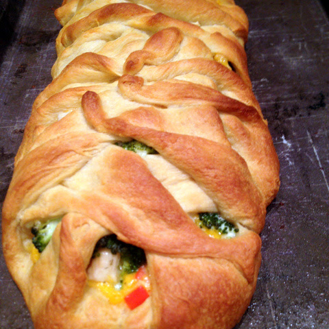 Chicken Broccoli Crescent Roll Braid