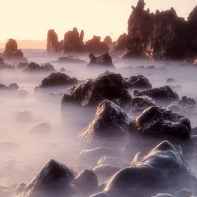 Reefs by Henrik Spranz - Landscapes Caves & Formations ( water, fog, lanzarote, islands, ocean, travel, beach, volcanic, canary, stones, rocks )