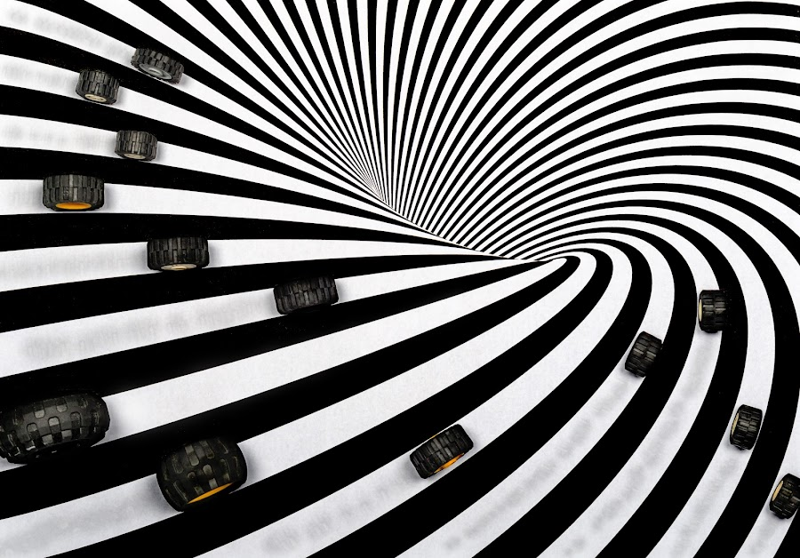 by Valics Lehel - Abstract Patterns ( orange, wheels, white, track, lines, illusion, black, optical illusion )