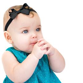 Baby Girl Praying by Jamie Hoff - Babies & Children Babies ( child, blueeyes, babyportrait, girl, 8monthsold, infant, daughter, baby, portrait )