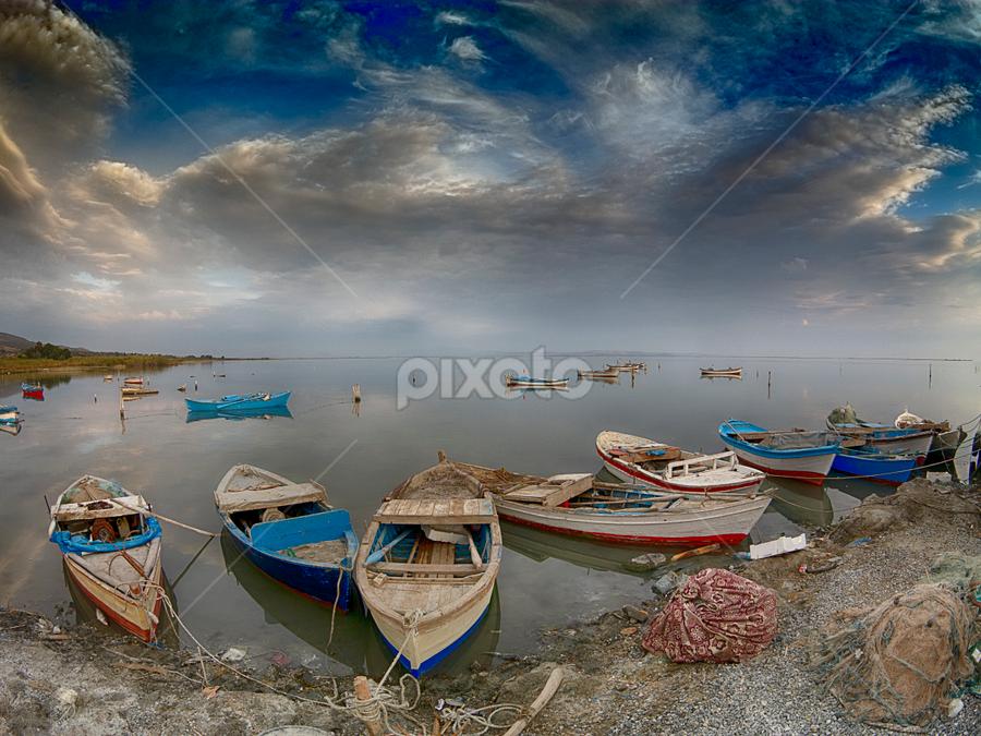 ... by Hale Yeşiloğlu - Transportation Boats ( karina, turkey, clouds, boats, travel )