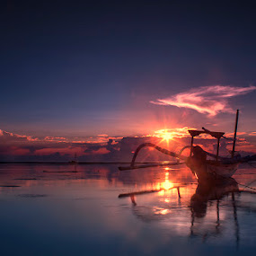 .:: brand new day ::. by Setyawan B. Prasodjo - Landscapes Sunsets & Sunrises ( bali, reflection, waterscape, red dawn, smooth wave, leissure, seascape, beach, travel, boat, landscape, slow speed photography, sindhu beach, dawn, blue sky, sunset, hideaway, long exposure, sunrise, catamaran )