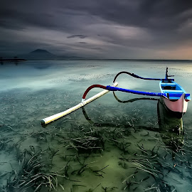 Half Boat by Ina Herliana Koswara - Transportation Boats ( water, bali, sanur, beach, boat, morning )